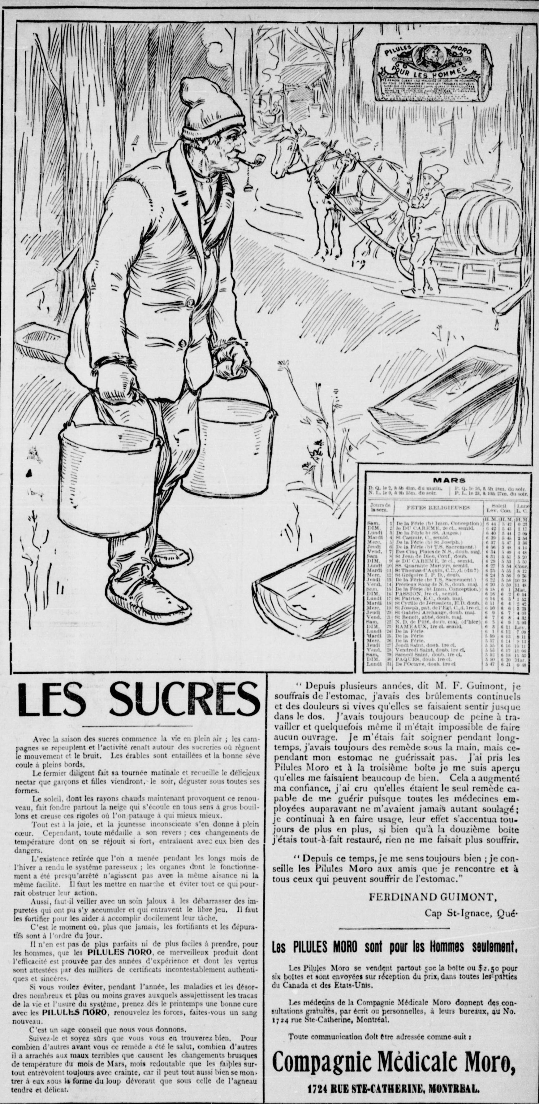 Publicité Pilules Moro, 1902