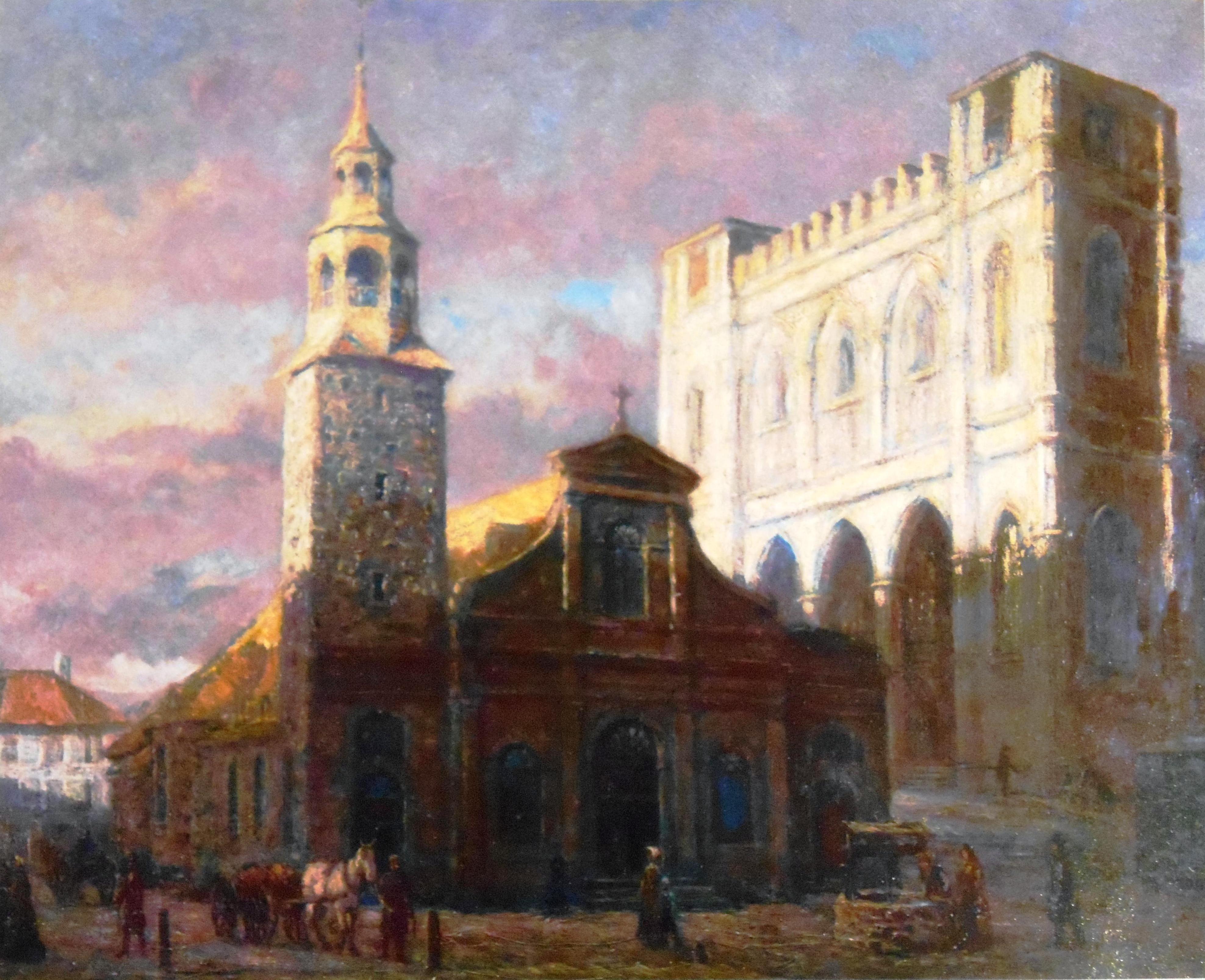 Les deux églises Notre-Dame, 1830 Georges Delfosse, n.d. Source : Wiki commons